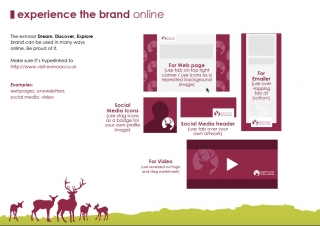 Internal layout of the Exmoor Dream Discover Explore brand guidelines produced by Viper Marketing.